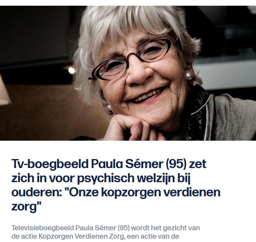 """Paula Sémer zegt: """"Kopzorgen verdienen zorg."""""""